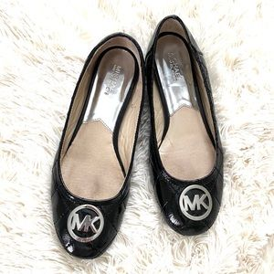 MICHAEL KORS•patent leather quilted ballet flats 9